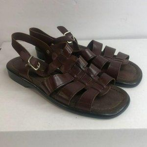 Leather Collection Brown Strap Leather Sandal 8.5W